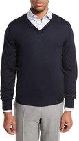 Brioni Essential Fine-Gauge V-Neck Sweater, Navy Blue