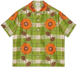 Gucci Children's Interlocking G flower silk shirt