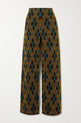 Dries Van Noten Metallic Argyle Merino Wool-blend Straight-leg Pants - Black