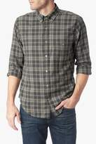 7 For All Mankind Long Sleeve Shirt In Heather Grey Camel Plaid