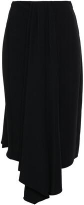 Tome Asymmetric Draped Crepe Midi Skirt