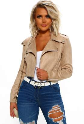 Pink Boutique Songbird Stone Faux Suede Cropped Biker Jacket