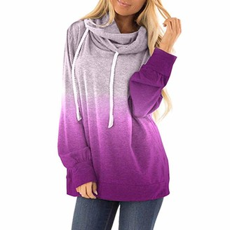 CixNy Womens Tops Ladies Color Block Striped Drawstring O-Neck Long Sleeve Short Hoodie Sweatshirt Jumper Hooded Pullover Tops Blouse Fashion Loose for Women Ladies T-Shirt (Purple XX-Large)