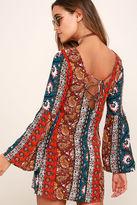 Billabong Rainy Roads Teal Print Dress