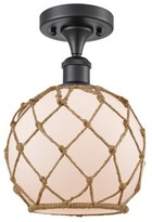 """clear Alma 1 - Light 2.5"""" Unique/Statement Globe Semi Flush Mount Breakwater Bay Fixture Finish: Antique Copper, Shade Color Glass with Brown Rope, B"""