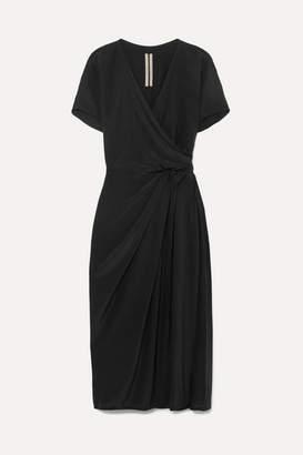 Rick Owens Draped Silk Crepe De Chine Wrap Dress - Black