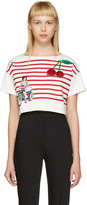 Dolce & Gabbana Off-white Cropped Badges T-shirt