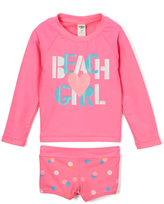 Osh Kosh Pink 'Beach Girl' Rashguard & Bikini Bottoms - Toddler