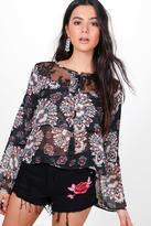 Boohoo Amy Ruffle Sleeve Lace Printed Top