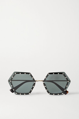 Valentino Garavani Hexagon-frame Crystal-embellished Gold-tone Sunglasses - Black