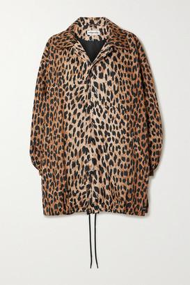 Balenciaga Oversized Leopard-print Shell Raincoat - Black