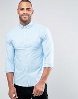 Asos Skinny Oxford Shirt in Blue with Long Sleeves