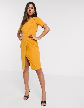 Closet London pleated detail wrap dress in marigold