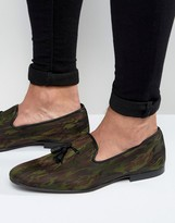 Asos Smart Loafers In Camo