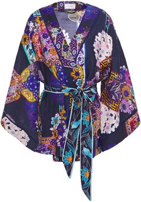 Camilla Satin-trimmed Printed Cotton And Silk-blend Kimono