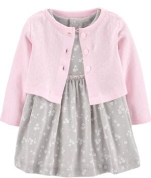Carter's Baby Girls 2-Pc. Cotton Cardigan & Dress Set