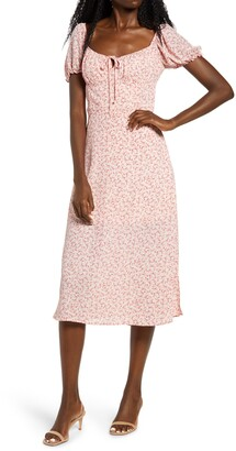Rowa Floral Sweetheart Neck Midi Dress