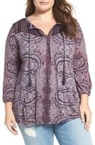Lucky Brand Plus Size Women's Lace Yoke Peasant Top