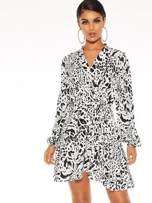 Quiz Woven Animal Long Sleeve Shirt Wrap Dress - White