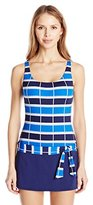 Jag Women's Ipanema Stripe Skirted One Piece Swimsuit