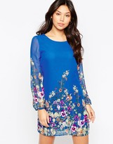 Yumi Long Sleeve Garden Print Shift Dress