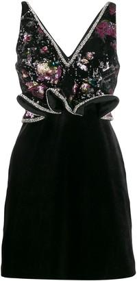 Self-Portrait Midnight Bloom sequin mini dress