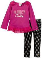 Juicy Couture #JUICYCouture Ruffle Tunic & Foil Dot Legging Set (Toddler Girls)