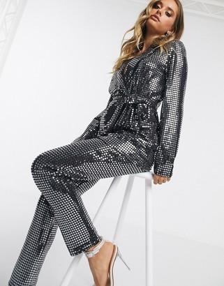 Asos Design DESIGN jersey sequin slim suit trousers-Silver
