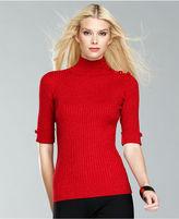 INC International Concepts Sweater, Short-Sleeve Metallic Turtleneck