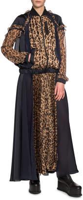 Sacai Leopard-Print Zip-Front Plisse Maxi Dress