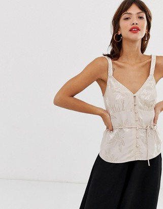 And other stories & jacquard button front top in dusty pink