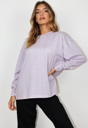Missguided Tall Purple Stripe Long Sleeve T Shirt