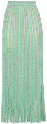 Missoni Striped Metallic Crochet-knit Silk-blend Midi Skirt