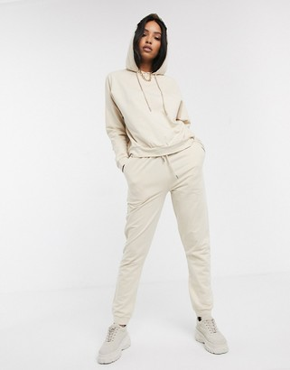 ASOS DESIGN tracksuit hoodie / slim jogger with tie in organic cotton