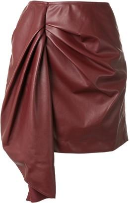 Self-Portrait Faux Leather Short Skirt