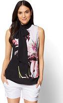 New York & Co. 7th Avenue - Tie-Front Halter Blouse - Black Floral