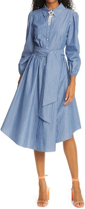 Cinq à Sept Riviera Stripe Long Sleeve Embellished Collar Shirtdress