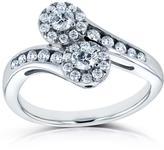 Kobelli Jewelry Kobelli 1/2 CT TW Diamond 14K White Gold Curved Halo 2-Stone Engagement Ring
