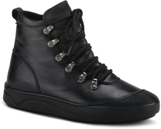 Spring Step Leather Lace-Up Booties - Darleen