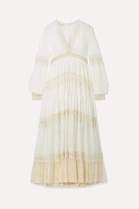 Philosophy di Lorenzo Serafini Macrame-trimmed Striped Chiffon Midi Dress - Cream