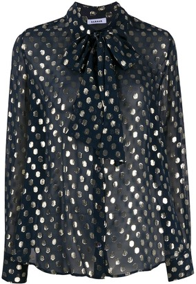 P.A.R.O.S.H. Dotted Bow Detail Blouse