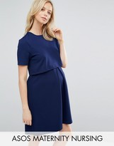 ASOS Maternity - Nursing ASOS Maternity NURSING Textured Skater Dress With Double Layer