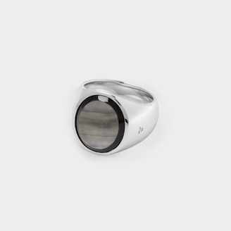 Tom Wood Oval Ring In Silver And Black Mother Of Pearl