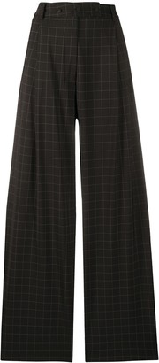 Maison Flaneur Check-Print Flared Trousers
