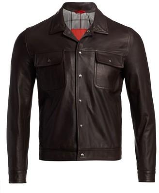 Isaia Point Collar Leather Jacket