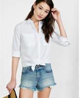 Express white cotton blend boyfriend shirt