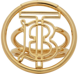 Burberry Gold Large Monogram Motif Ring