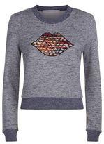 See by Chloe Embroidered Lips Fleece Sweatshirt