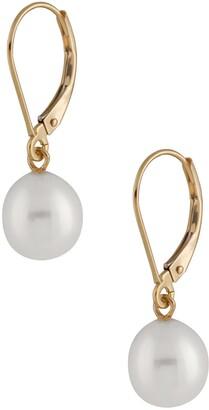 Splendid Pearls 14K Gold 7-7.5mm White Freshwater Pearl Leverback Earrings