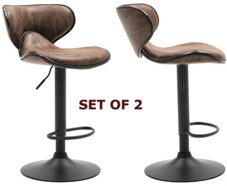 Btexpert Adjustable Swivel Vintage Brown Bar Counter Stool Chair Set Of 2, Back - 24 to 32 inch adjustable - 24 to 32 inch adjustable